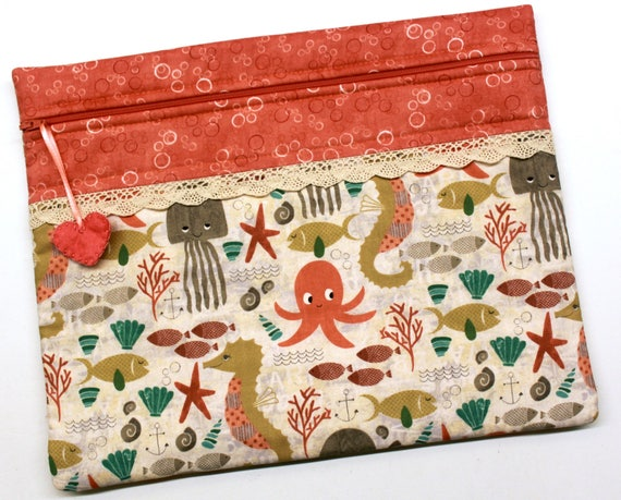 Coral Undersea Cuties Cross Stitch, Embroidery Project Bag