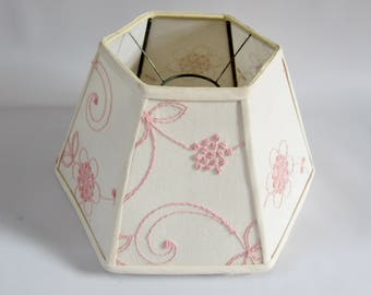Vintage Lamp Shade CREAM and PINK Stitched Floral