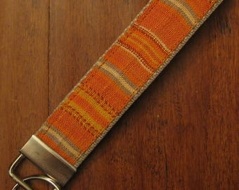 Orange Linen Stripe Wristlet, Key Fob, Key Chain