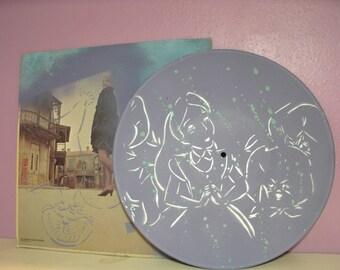 Alice in Wonderland Original Stencil Painting on Repurposed Vinyl Record Album by Jessica Pope