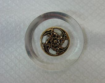 "Vintage Lucite Button, Large 1 3/4"" Beautiful Metal Escutcheon"