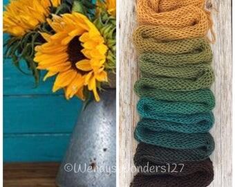 Hand Dyed Yarn, Gradient Yarn, Fingering Weight Yarn, Summer Sunflowers