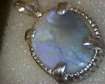Beautiful Lightning Ridge Australian Black Opal Pendant