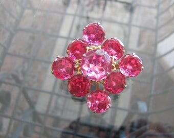 Pink Rhinestone Brooch, Vintage Rhinestone Pin, Pink Rhinestone Jewelry