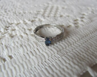 Sapphire & Diamond Ring, 14k White Gold Vintage Ring, Size 6.5 Engagement Promise Ring