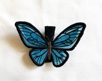 BUTTERFLY Hair Clip - BLUE - barrette, fascinator