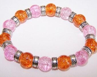 Orange and pink crackle glass beaded bracelet elastic bracelet