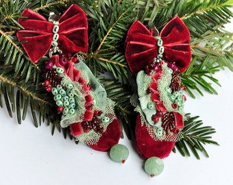 RESERVED LISTING long lightweight earrings, christmas vibe, embroidered elegant romantic, large, victorian, vintage, fabric textile earrings