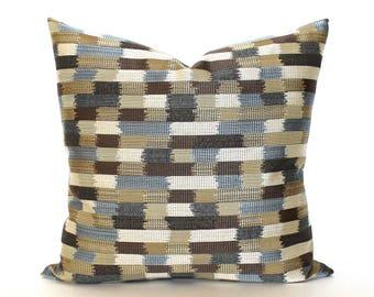 Blue Brown Beige Pillow Cover Stripe Upholstery Fabric Throw Pillow Cover Decorative Pillow Euro Sham 26x26 24x24 22x22 20x20 18x18 16x16