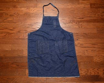 vintage selvedge denim apron dark wash handmade homemade indigo denim industrial apron art smock 40s 50s distressed denim apron