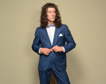 vintage 50s mens suit steel blue sharkskin suit 1950 two button sack cut skinny lapel rockabilly suit Marlton Muller & Bluett