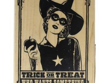 Inkadinkado Trick or Treat Witch with Apple Wooden Rubber Stamp