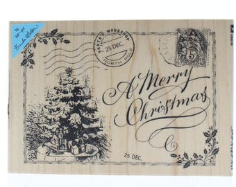 Inkadinkado A Merry Christmas Holiday Postcard Wooden Rubber Stamp