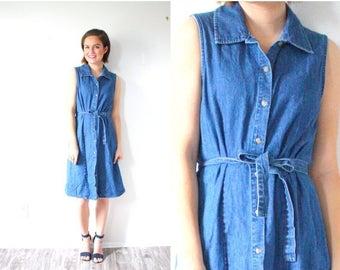 20% OFF JULY 4th SALE Vintage jean collared dress // boho jean overalls // blue jean dress // boho summer dress // jean jumper dress // jean