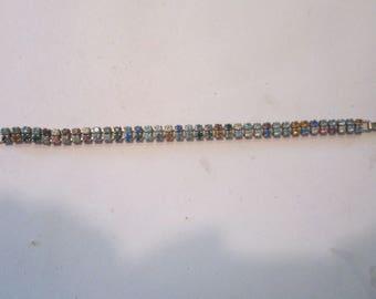 "multicolored rhinestone bracelet vintage rhinestone bracelet 6 3/4"""