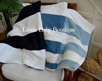 Linen Stripe Blanket. Baby,Toddler or Throw Blanket. Gender Neutral. Choose Your Style. Add Denim or All Linen.