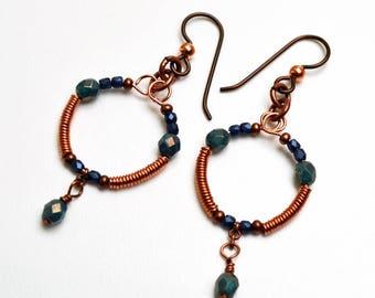 Copper Hoop Earrings Memory Wire Czech Glass Niobium Ear Wires