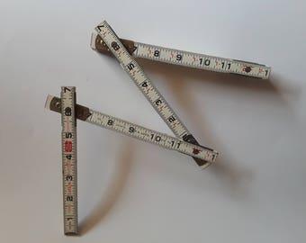 vintage Lufkin wooden modular ruler   vintage wooden fold out ruler   vintage masonry Lufkin ruler   brass white and red wooden ruler