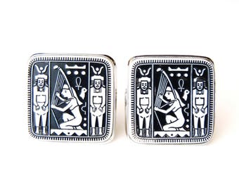 Vintage Cuff Links Ancient Egyptian Motif Large Square Black & White Glass Plaques w/ Silvertone Metal Bezels Signed Shields-Danté Cufflinks