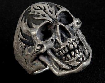 Flaming Brains, Silver Skull Ring, Silver Skull,Mens Skull Ring, Large size