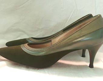 Vintage 1950s Heels Classic Shoes Jacqueline Size 5.5 Pine Green