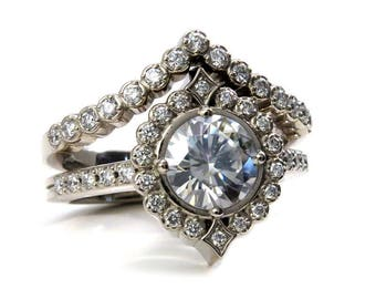 Grey Moissanite and Diamond Art Deco Engagement Ring Set - 14k Gold Fine Jewelry
