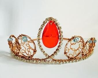 Elena Crown - Unique Crown - Elena of Avalor crown - Cosplay Crown - Renaisance Crown - Red Crystal Crown - Crystal Tiara - Rhinestone Crown