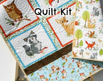Woodland Quilt Kit, DIY Project, Forest Fellows Striped Panel Pattern, Modern Quilt Kit Boy or Girl Fox Squirrel Deer Owl Animals Brown Blue