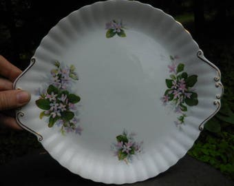 "Vintage 1950s to 1960s Royal Albert Bone China Made in England "" Mayflower"" White Pink/Purple Flowers Green Leaves Gold Trim Handles Cake"