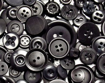 The Black Button Assortment: A Variety Mix of 200 Vintage to Contemporary Buttons