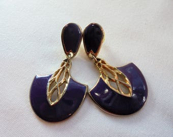 Vintage  Earrings Signed BEREBI Purple Enamel Dangle Gold Plated Tone Retro Designer Jewelry Art Deco Abstract
