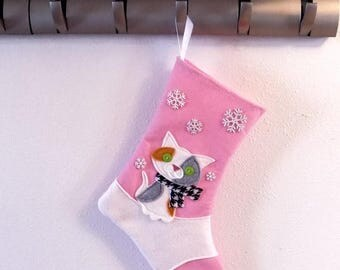 CHRISTMAS IN JULY Calico Cat Kitten Personalized Christmas Stocking by Allenbrite Studio