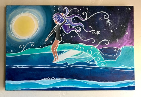 Original Surf Art Painting Girl Longboarding in Moonlight by Lauren Tannehill Art