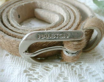Vintage HALSTON Tan Cowhide Leather Belt With Fur Size M - Made In USA