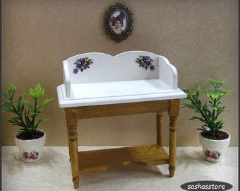Wooden Washstand, Dollhouse Miniature Furniture, Cottage Chic, Wash Stand, Bathroom Decor, 1:12th Scale