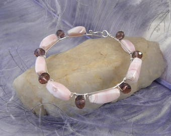 Pink Peruvian Bracelet with Sterling Silver Wire