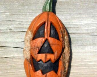 Jack O' Lantern Wood Carving, Hand Carved Original Halloween Pumpkin, Cottonwood Bark, Home Fall Rustic Decor, Folk Art, For Sale, by Joan