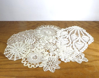 7 Vintage White Crocheted Doilies Pineapple Doily Craft Doilies Farmhouse Home Decor Mid Century Linens