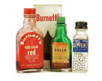 Vintage Food Packages, Bakery Kitchen Decor, Silver Sprinkles Jar, Food Coloring Bottles, Cupcake Dragees