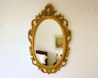 Vintage Syroco Mirror, Large Ornate Mirror, Oval Wall Mirror, Gold Wall Decor, Hollywood Regency