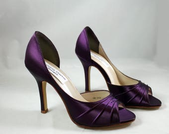High Purple Wedding Shoes high heel SALE size 6 -- 3.5 inch heel - Aubergine colored shoes Ready to ship - Eggplant shoe