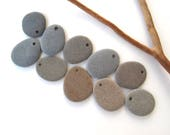 Flat Stone Beads Drilled Beach Stones Mediterranean Pebbles Natural Stone Beads River Rock Diy Jewelry Making MATTE FLAT LOT 23-30 mm