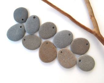 Flat Stone Beads Drilled Beach Stones Mediterranean Pebbles Natural Stone Beads River Rock Diy Jewelry Making MATTE FLAT LOT 23-30 mm