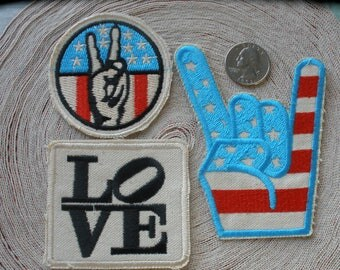 Peace Love Rock Embroidered Canvas patches iron-on applique embellishment Craft Accent Boho Festival sewing blue red black Stars & Stripes