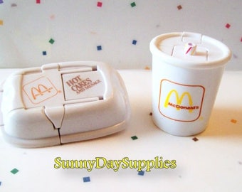 Vintage McDonalds Toys, Changeables, Pancakes, Hotcakes with Soft Drink , 2 in Lot ,1989 Happy Meal toys, Robot and Dinosaur, Food Toys