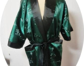 Reversable Satin  Brocade  Robe Dressing Gown   #206