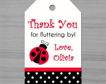 Ladybug Favor Tags Printable or Printed with FREE SHIPPING - ANY Wording  - My Little Lady Collection