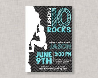 Rock Wall Invitation For Rock Climbing Party Printable Or - Birthday party invitations rock climbing