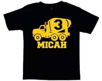 Cement Mixer tshirt Personalized Birthday Construction Shirt
