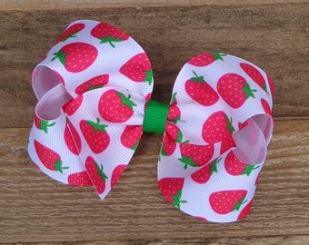 Strawberry Hair Bow~Boutique Hair Bow~Medium/Large Boutique Bow~Strawberry Boutique Bow~Basic Hair Bow~Simple Bow~Red Boutique Hair Bow